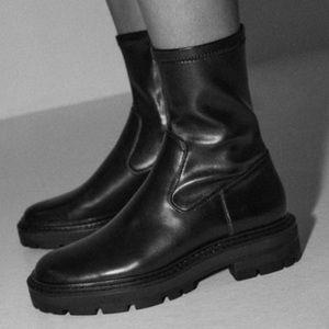 Zara black leather boots 2021